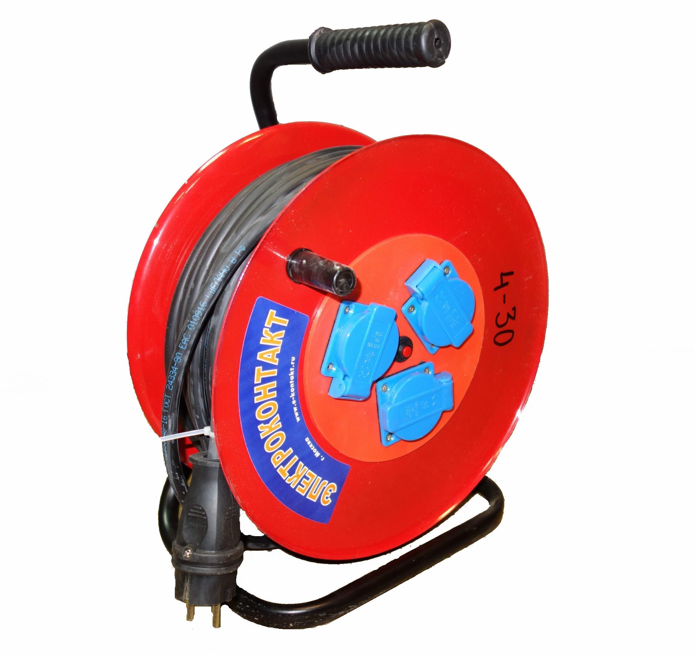 Удлинитель на катушке ЭЛЕКТРОКОНТАКТ УХз-16-003 10211 30 м. (металлическая катушка)
