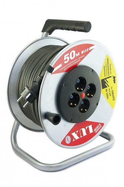 Удлинитель на катушке LUX 40150 К4-Е-50 ПВС 50 м. (металлическая катушка)